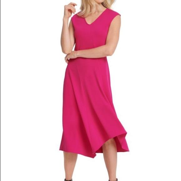 DKNY Women's Pink V-Neck Sleeveless Midi Dress